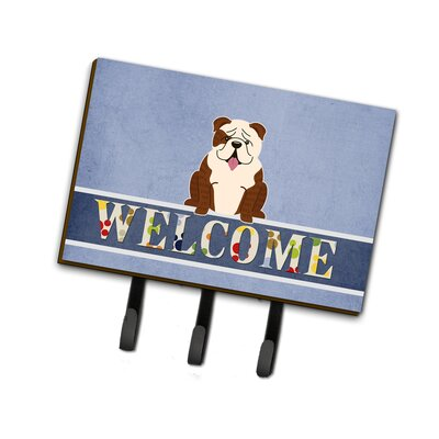 English Bulldog Brindle Welcome Leash or Key Holder