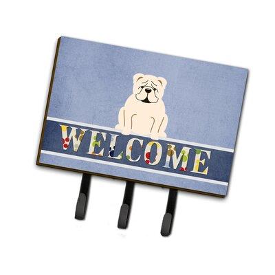 English Bulldog Welcome Leash or Key Holder Finish: White