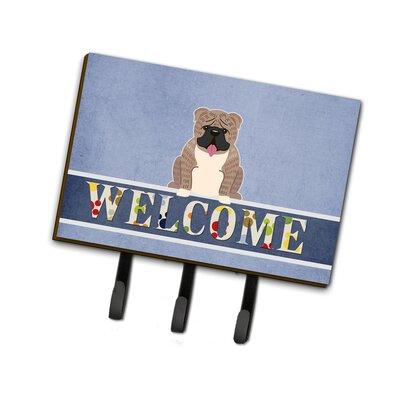 English Bulldog Brindle Welcome Leash or Key Holder