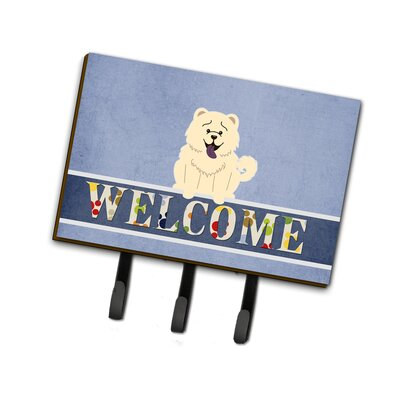 Chow Chow Welcome Leash or Key Holder Finish: White