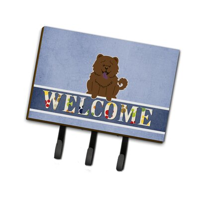 Chow Chow Welcome Leash or Key Holder Finish: Brown