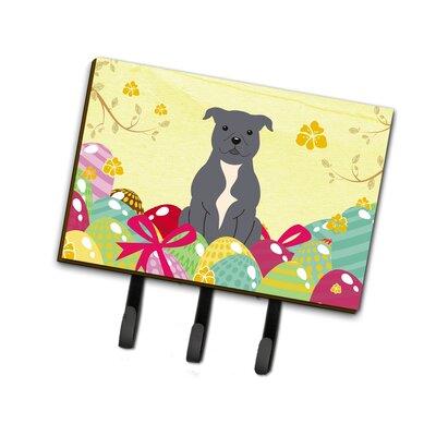 Easter Eggs Staffordshire Bull Terrier Leash or Key Holder Finish: Blue