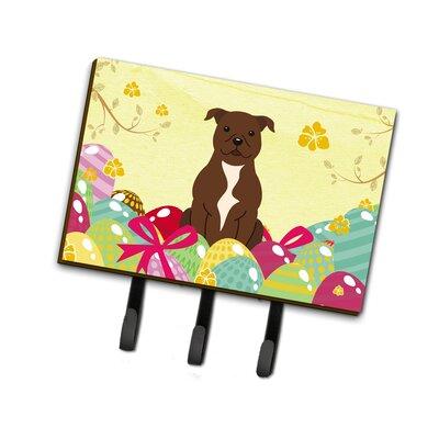 Easter Eggs Staffordshire Bull Terrier Leash or Key Holder Finish: Chocolate