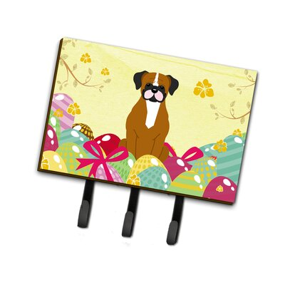 Easter Eggs Fawn Boxer Leash or Key Holder Finish: Brown/White