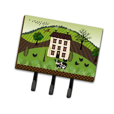 Folk Art Country House Leash or Key Holder