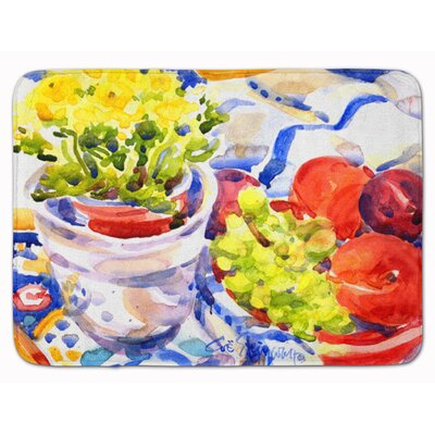 Apples, Plums and Grapes with Flowers Memory Foam Bath Rug