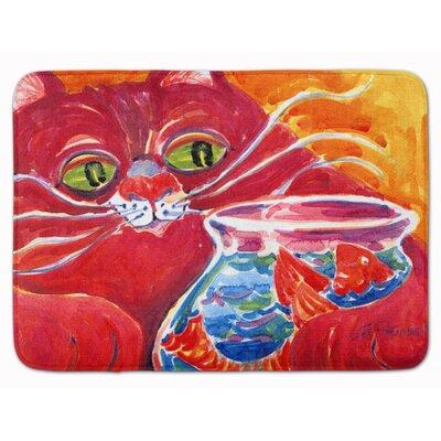 Big Cat at the Fishbowl Memory Foam Bath Rug