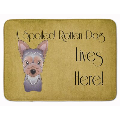 Yorkie Puppy Spoiled Dog Lives Here Memory Foam Bath Rug