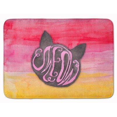Cat Face Meow Watercolor Memory Foam Bath Rug