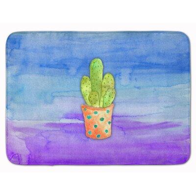 Cactus Watercolor Memory Foam Bath Rug
