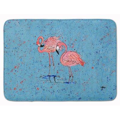 Flamingos Memory Foam Bath Rug Color: Blue