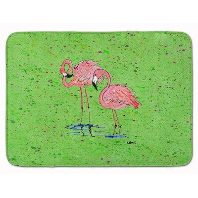 Flamingos Memory Foam Bath Rug Color: Green