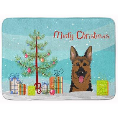 Christmas Tree and German Shepherd Memory Foam Bath Rug