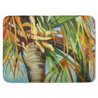 Bevin Orange Top Palm Tree Memory Foam Bath Rug