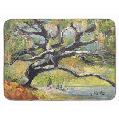 Oak Tree on the Bay with Sailboats Memory Foam Bath Rug