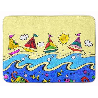 Summer Sail Away Sailboats Memory Foam Bath Rug