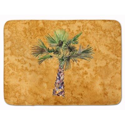Bellamira Palm Tree Memory Foam Bath Rug Color: Gold