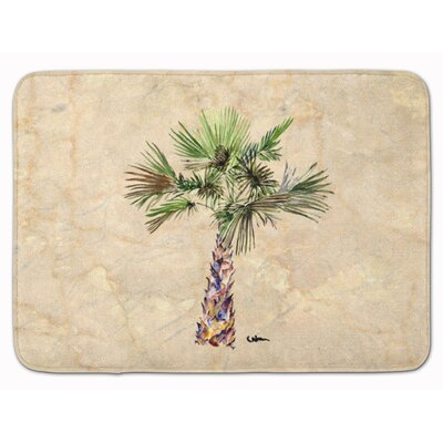 Bellamira Palm Tree Memory Foam Bath Rug Color: Ivory