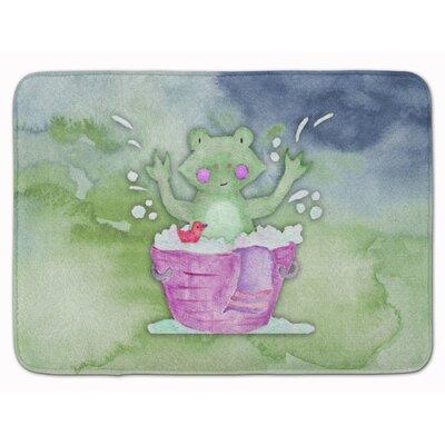 Frog Bathing Watercolor Memory Foam Bath Rug