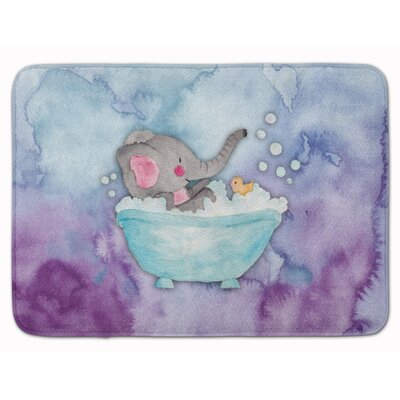 Brandyn Elephant Bathing Watercolor Memory Foam Bath Rug