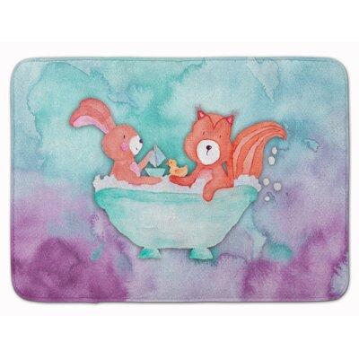 Beulah Rabbit and Squirrel Bathing Watercolor Memory Foam Bath Rug