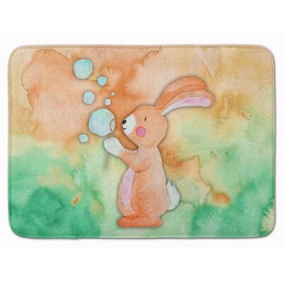 Beulah Rabbit and Bubbles Watercolor Memory Foam Bath Rug