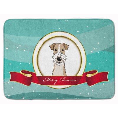 Wire Haired Fox Terrier Merry Christmas Memory Foam Bath Rug