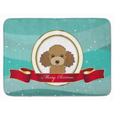 Poodle Merry Christmas Memory Foam Bath Rug Color: Brown