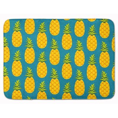 Azalea Pineapple Memory Foam Bath Rug Color: Teal