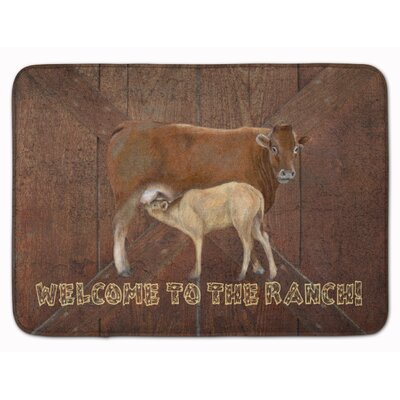 Welcome to the Ranch with Cow and Baby Memory Foam Bath Rug
