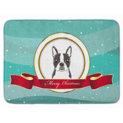 Boston Terrier Merry Christmas Memory Foam Bath Rug