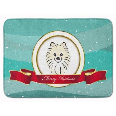 Pomeranian Merry Christmas Memory Foam Bath Rug