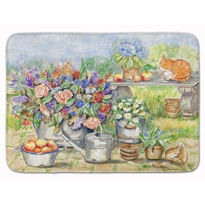 Marley Patio Bouquet and Cat Memory Foam Bath Rug