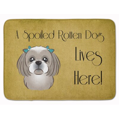 Shih Tzu Spoiled Dog Memory Foam Bath Rug Color: Gray