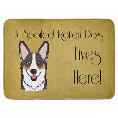 Sable Corgi Spoiled Dog Lives Here Memory Foam Bath Rug Color: Gray