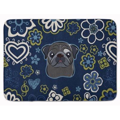 Blue Flower Fawn Pug Memory Foam Bath Rug Color: Black