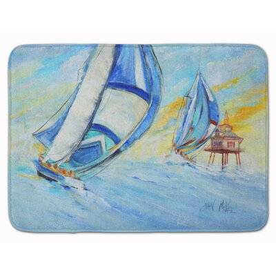Sailboat and Middle Bay Lighthouse Memory Foam Bath Rug