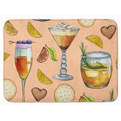 Drinks and Cocktails Memory Foam Bath Rug Color: Peach