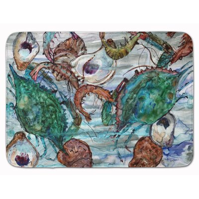 Shrimp, Crabs and Oysters in water Memory Foam Bath Rug