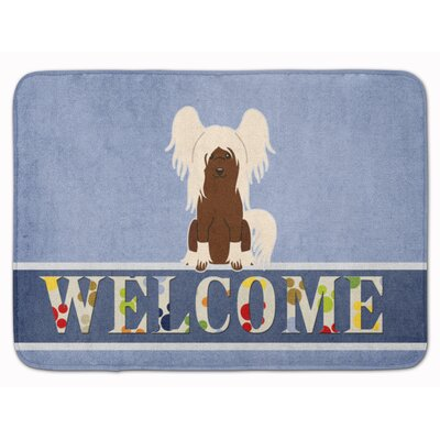 Chinese Crested Welcome Memory Foam Bath Rug Color: Cream/Brown