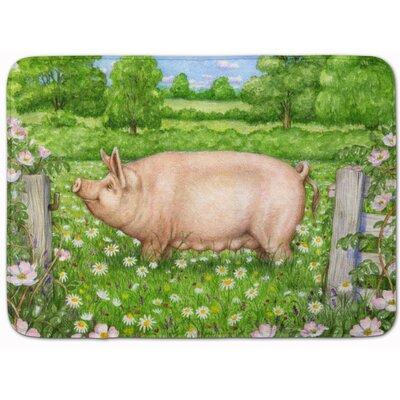 Jonah Pig in Dasies by Debbie Cook Memory Foam Bath Rug