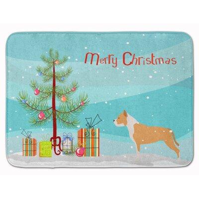 Staffordshire Bull Terrier Christmas Memory Foam Bath Rug