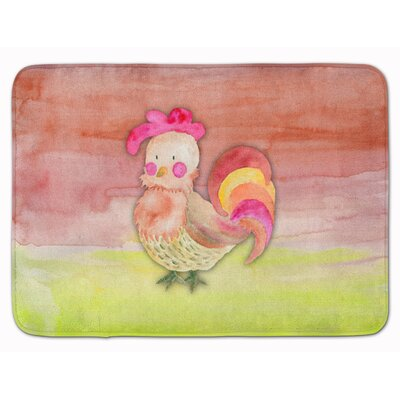 Billie Rooster Watercolor Memory Foam Bath Rug