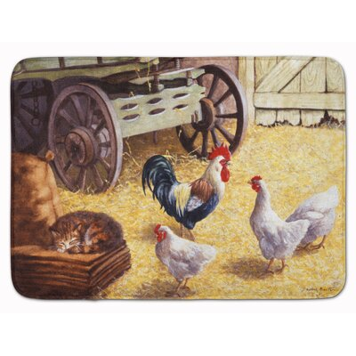 Jaiden Rooster and Hens Chickens in the Barn Memory Foam Bath Rug