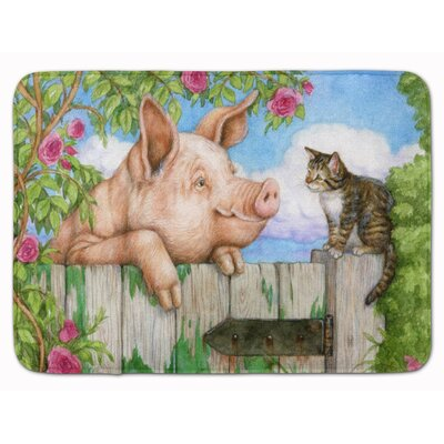 Jonah Pig at the Gate with the Cat Memory Foam Bath Rug