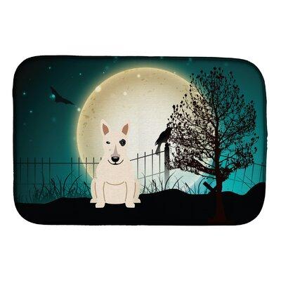 SantaClara Halloween Scary Bull Terrier Dish Drying Mat Finish: White