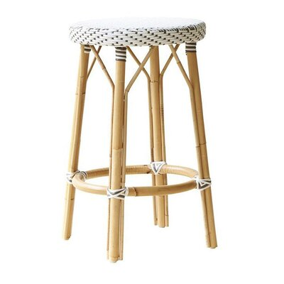 """Affaire 27"""" Bar Stool Upholstery: White with Cappuccino Dots"""