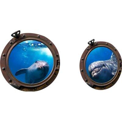 Imagicom Porthole Sub Dolphins Wall Sticker