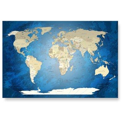 LanaKK Worldmap Blue Ocean Photographic Print
