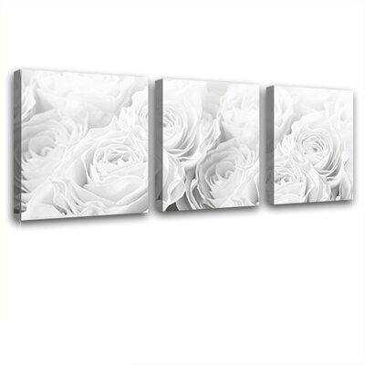 LanaKK Bed of Roses 3 Piece Graphic Art on Canvas Set
